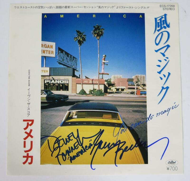 """AMERICA (the band) Signed Autograph """"You Can Do Magic"""" 45rpm Vinyl Record Single"""