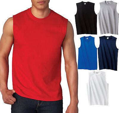 GILDAN MENS TANK TOP Preshrunk Cotton Sleeveless Muscle Tee T-Shirt S,M,L,XL, -