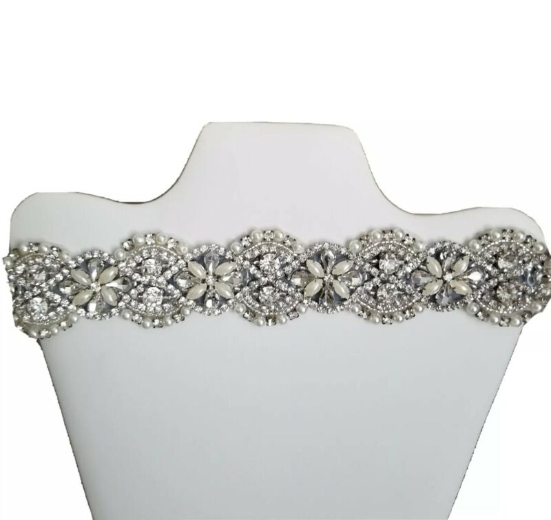 Yanstar Wedding Bridal Belts In Silver Rhinestone Crystal Pearl With Navy Sash