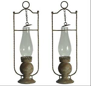 2 style ancienne lanterne lampe tempete de jardin de table a bougie en fer 46cm ebay. Black Bedroom Furniture Sets. Home Design Ideas