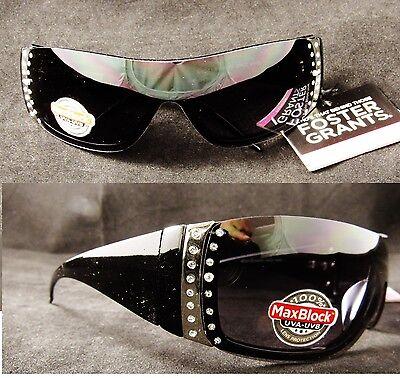 Women's Black Foster Grant Santa Cruz Rhinestone Glitter Sport Wrap Sunglasses