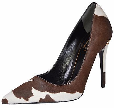 NEW Gucci Women's 392025 Brown White Pony Hair Horsebit Pumps Heels Shoes 35 5