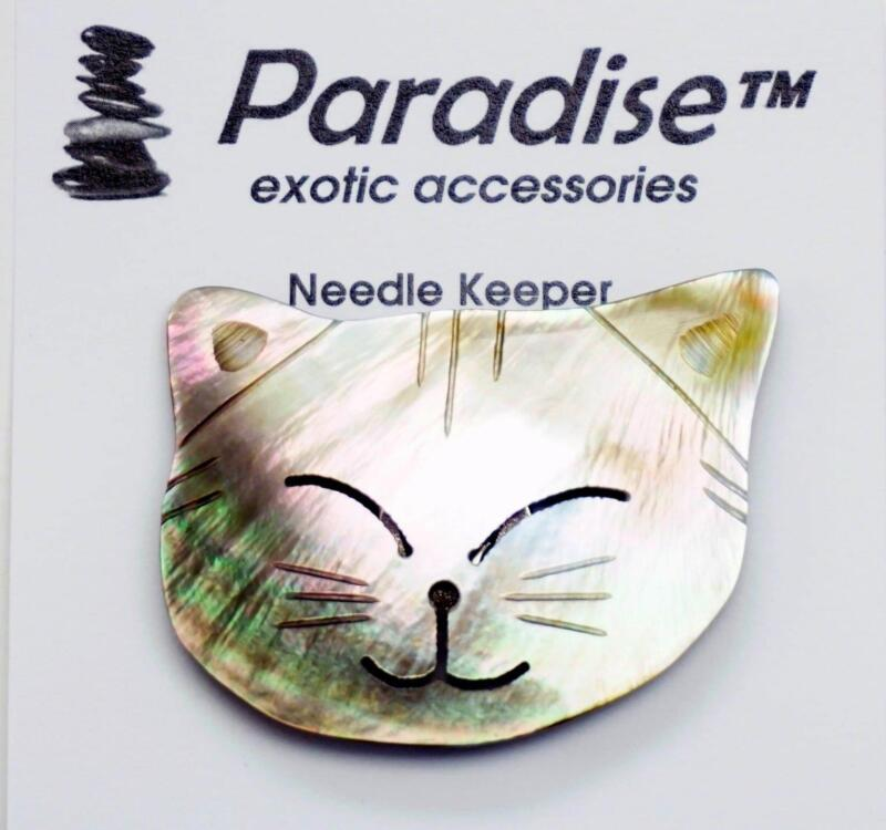 Magnet ~ SHELL INLAY  CAT FACE Needle Keeper for Needlepoint, X-Stitch, Sewing