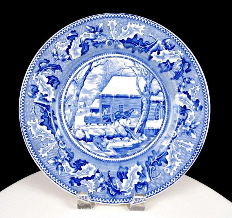 "JOHNSON BROS HISTORIC AMERICA THANKSGIVING FROZEN BLUE TRANSFERWARE 10.3"" PLATE"