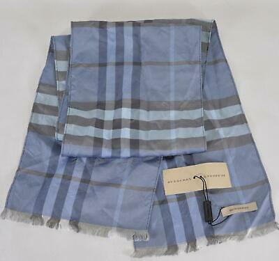 New Burberry $275 Bright Navy Check Silk Nova Check Scarf