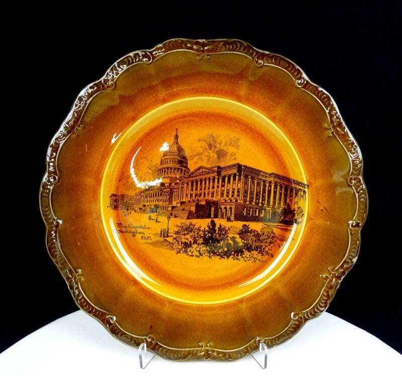 "RIDGWAYS ENGLAND THE CAPITOL WASHINGTON DC BROWN TANSFERWARE 10 1/4"" PLATE 1891-"