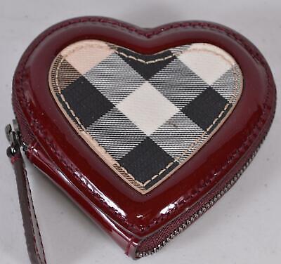 Burberry Berry Red Nova Check Heart Zip Around Coin Purse Bag DEFECT