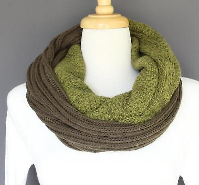 Olive green scarf chunky ribbed knit circle infinity endless loop long soft cowl