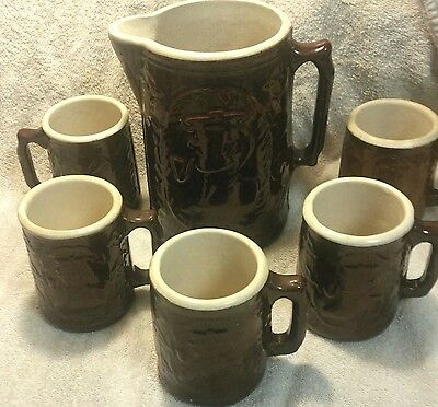 Crooksville O Burley Winter Pottery Company Pitcher and 5 Mugs