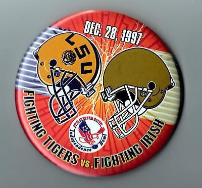 "1997 Independence Bowl 3 1/2""  Pinback Button .. L.S.U.  Tigers vs. Notre Dame"