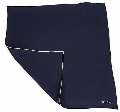 New Gucci Men's 141349 Solid Blue Silk Square Pocket Handkerchief Logo Scarf