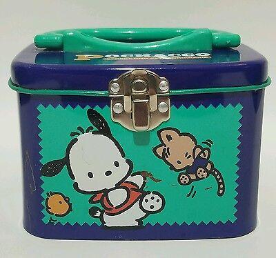 Pochacco Purple Metal Storage Tin Box 1996 Germany Korea Vintage Sanrio School