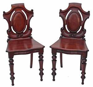 Antique-pair-of-19C-Victorian-carved-mahogany-hall-side-bedroom-chairs