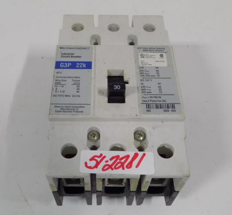 AUTOMATION DIRECT 30A  INDUSTRIAL CIRCUIT BREAKER G3P 22k