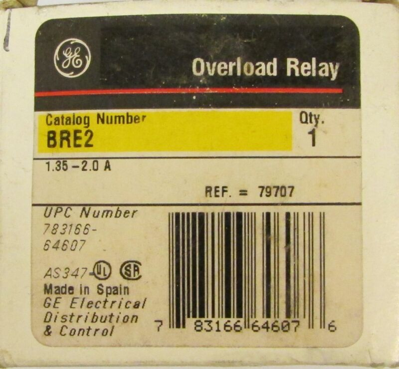 General Electric GE Overload Relay 1.35-2 Amp BRE2