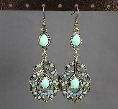 Metal Feather Earrings Aqua Blue Beaded Pendant Dangle Antiqued Gold Tone