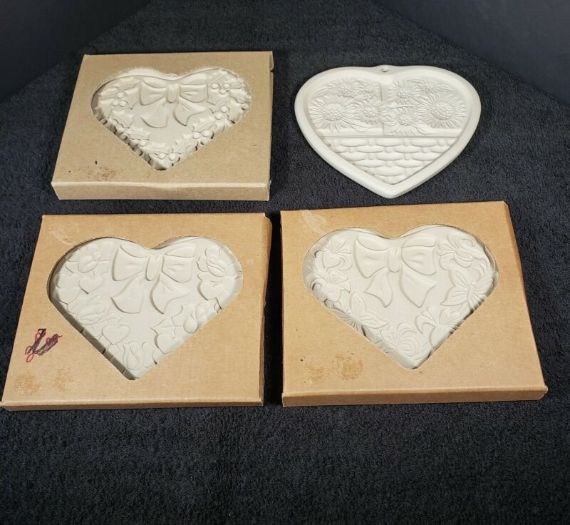 Set of 4 Pampered Chef Cookie Molds Heart  Stoneware