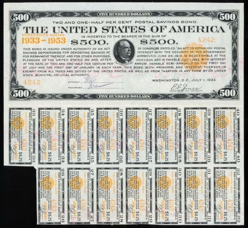 1933 $500 POSTAL SAVINGS BOND - HISTORIC AND INCREDIBLY RARE!