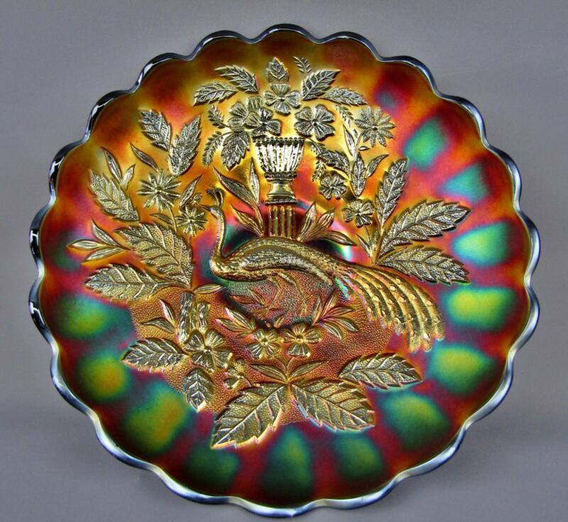 Northwood PEACOCK & URN Amethyst Carnival Glass MASTER Ice Cream Shape Bowl 7787