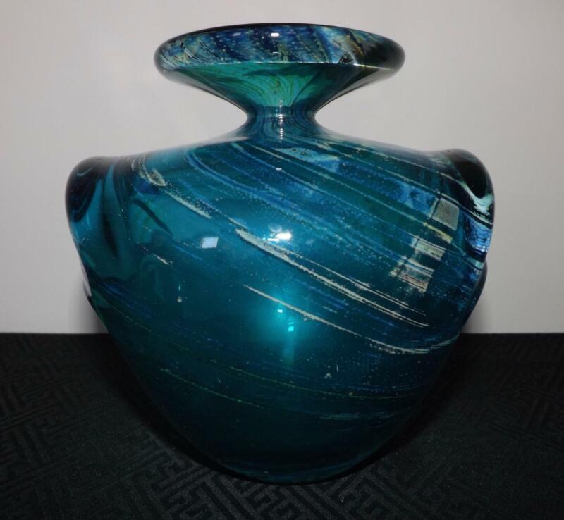 SIGNED Mdina Maltese Blue & Yellow Glass