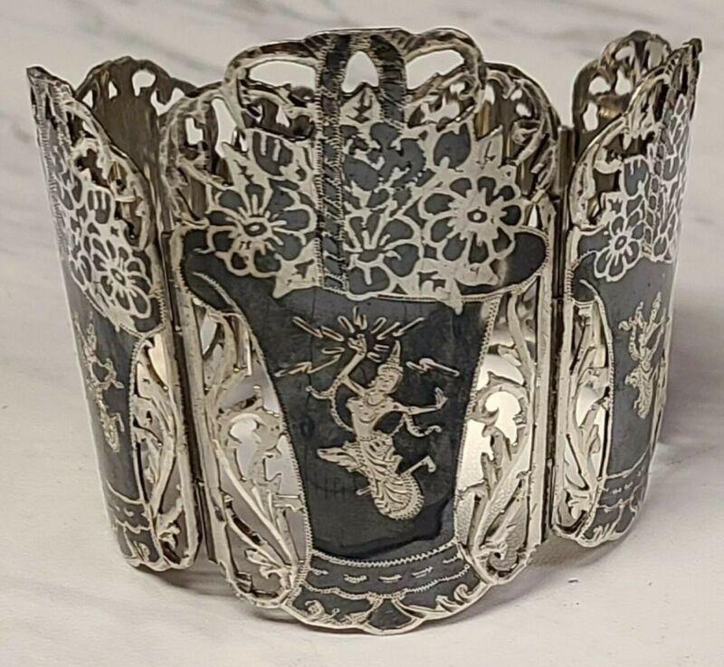 Vintage Siam Sterling Silver Black Niello Enamel Thai Dancer Panel Link Bracelet