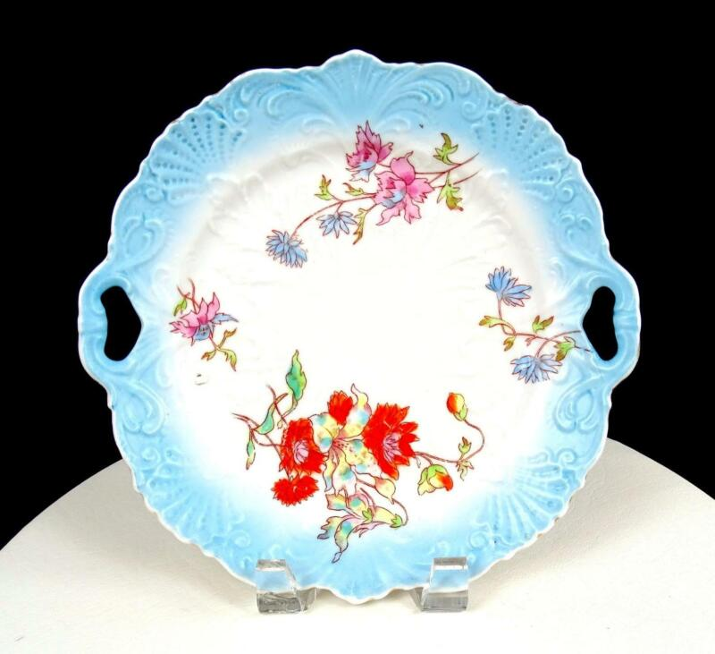 """GERMAN PORCELAIN SCROLL AND SHELL EMBOSSED FLORAL 9 3/4"""" CAKE PLATE 1850-1899"""