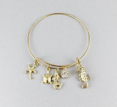 Mermaid Sea Horse Turtle Starfish Bracelet Bangle Thin Skinny Bangle Gold