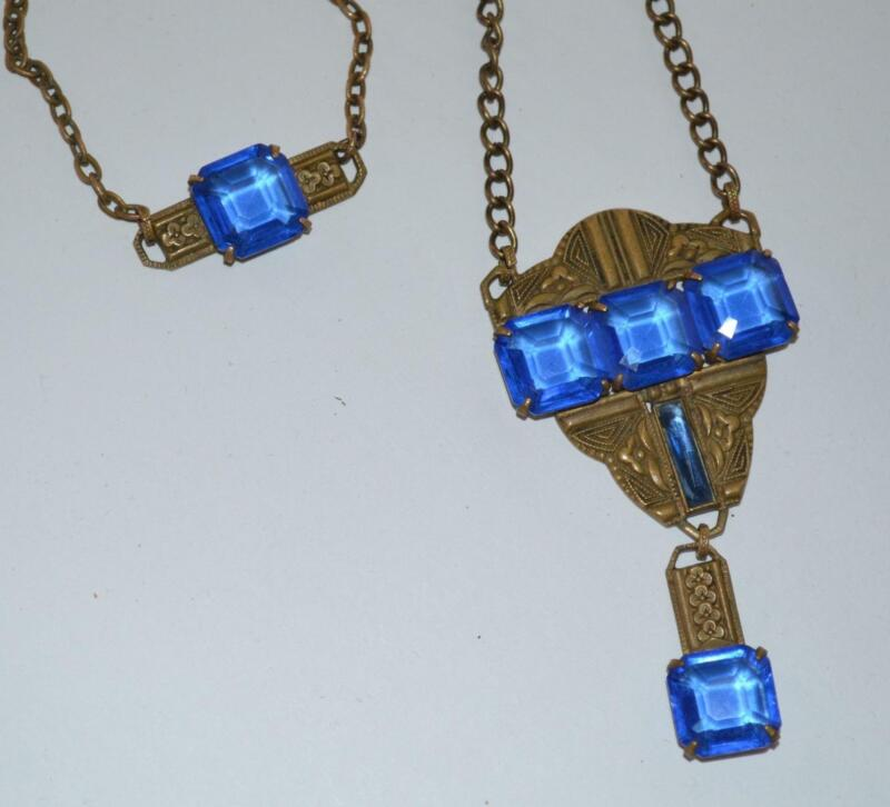 ANTIQUE ART DECO BLUE GLASS / BRASS CZECH NECKLACE BRACELET