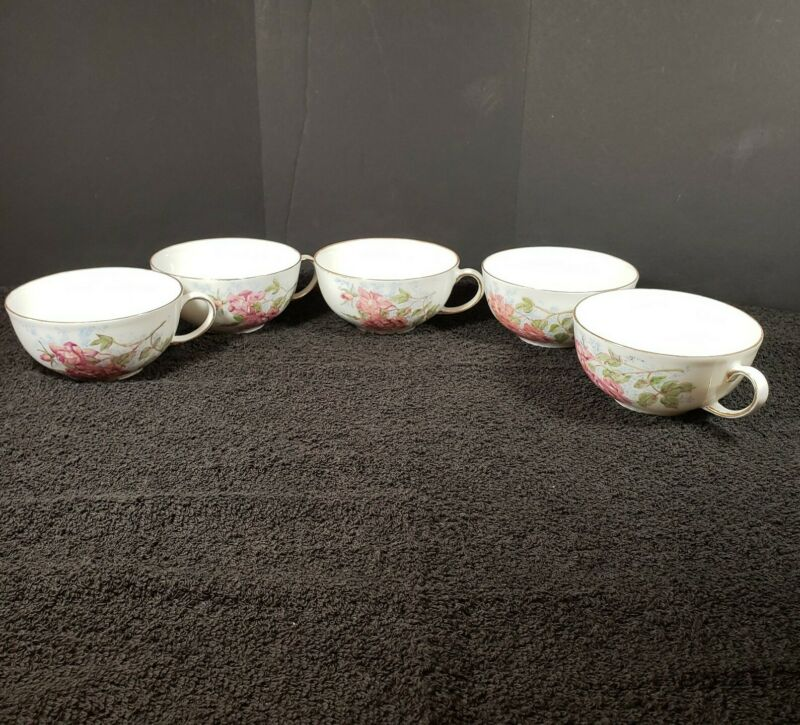 Vintage Set of 5 Holiday V Made in Germany Hand Painted by S. Lewis 1974 Tea Cup