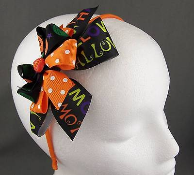 Orange Black halloween bow pumpkin ribbon wrapped thin skinny headband hair band - Halloween Pumpkin Headbands