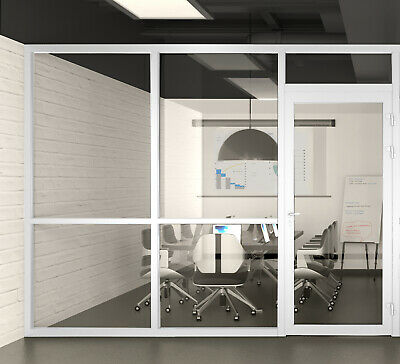 Cgp Office Partition System Glass Aluminum Wall 9x9 Wdoor White Semi