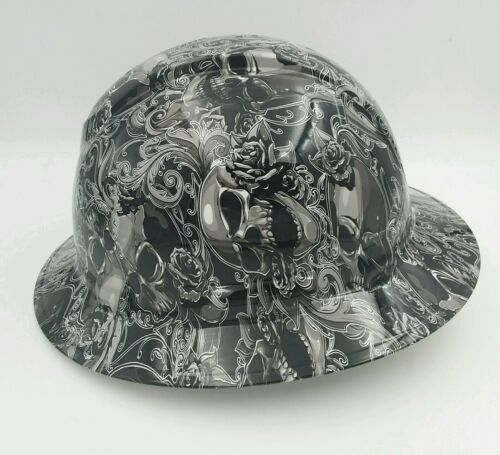Hard Hat FULL BRIM custom hydro dipped , OSHA approved SKULLS N ROSES NEW 2
