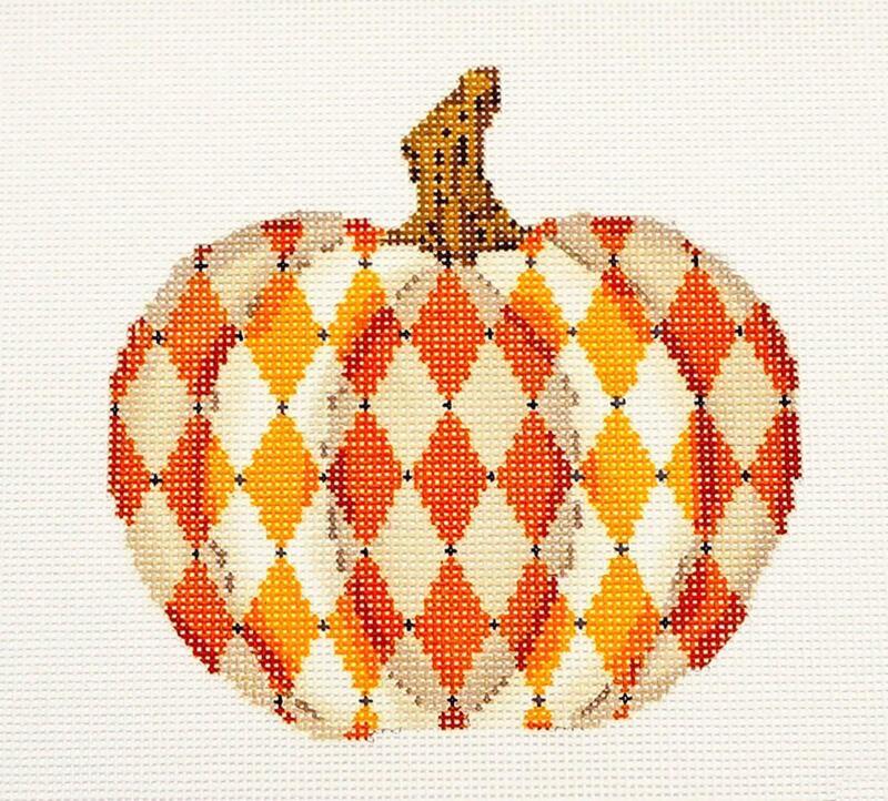 Autumn Orange & White Pumpkin handpainted Needlepoint Canvas by Kelly Clark