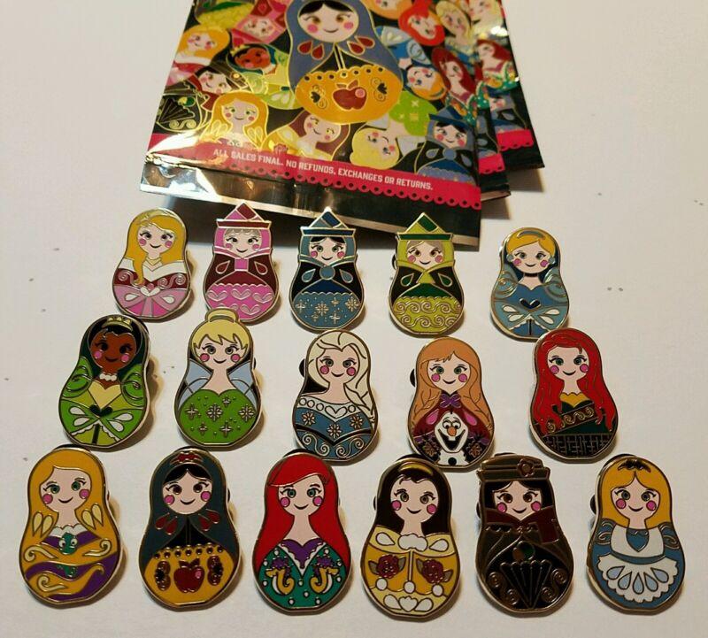 Disney Pins Princess Nesting Dolls Complete 16 Pin Set Ariel Belle Elsa Anna