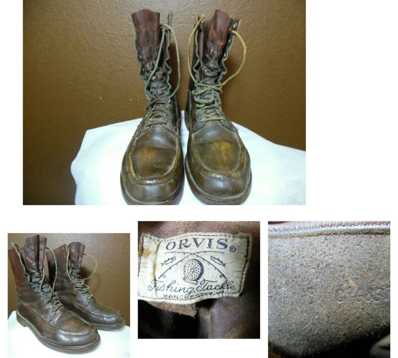VTG ORVIS FISHING TACKLE LACE-UP LEATHER BOOTS Outdoors/Hunting/Fishing USA 9C