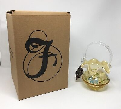 Fenton Autumn Gold Opal Hand Painted Basket - New With Box and Tags! #8133 VX