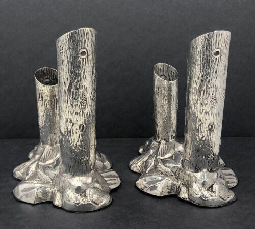 Unusual pair of sterling silver naturalist tree trunk flower vases Sheffield1901