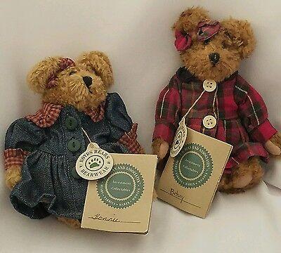 Betsey and Bonnie Boyds Bears Plush  Lot of 2 J B Bean Series Denim Plaid Dress