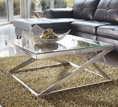 Glass Top Metal Square Cocktail Coffee Table Brushed Nickel Sleek Metro Modern