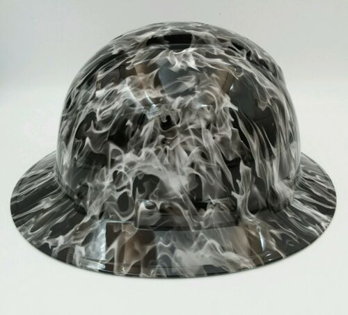Hard Hat FULL BRIM custom hydro dipped , OSHA approved WHITE HOT FLAMES NEW 2