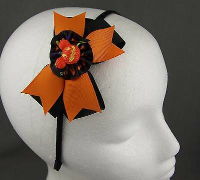 Black Orange halloween bow pumpkin ribbon wrapped thin skinny headband hair band - Halloween Pumpkin Headbands