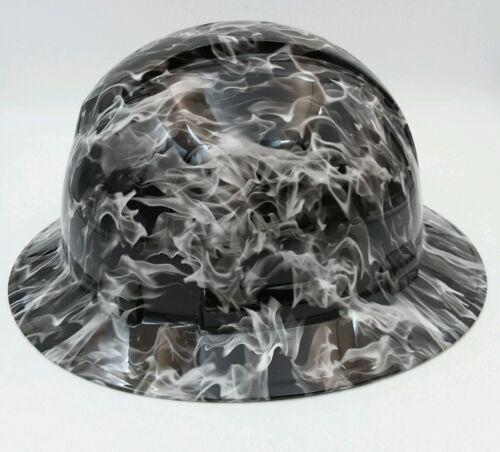 Hard Hat FULL BRIM custom hydro dipped , OSHA approved WHITE HOT FLAMES NEW 1