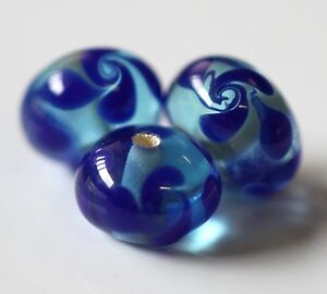 20pcs 8x13mm Lampwork Glass Beads - Turquoise/Blue Spiral