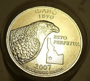 GEM-UNCIRCULATED-ROLL-IDAHO-2007-P-STATE-QUARTERS-FREE-SHIPPING