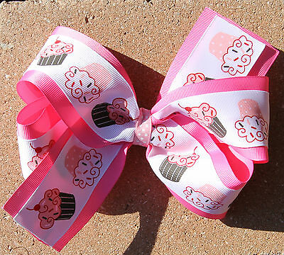 Personalized Embroidered Birthday Cupcakes Hot Pink Girl Hair Bow
