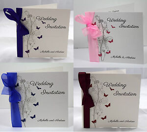 Butterfly wedding invitations ribbon day evening handmade for Ebay navy wedding invitations