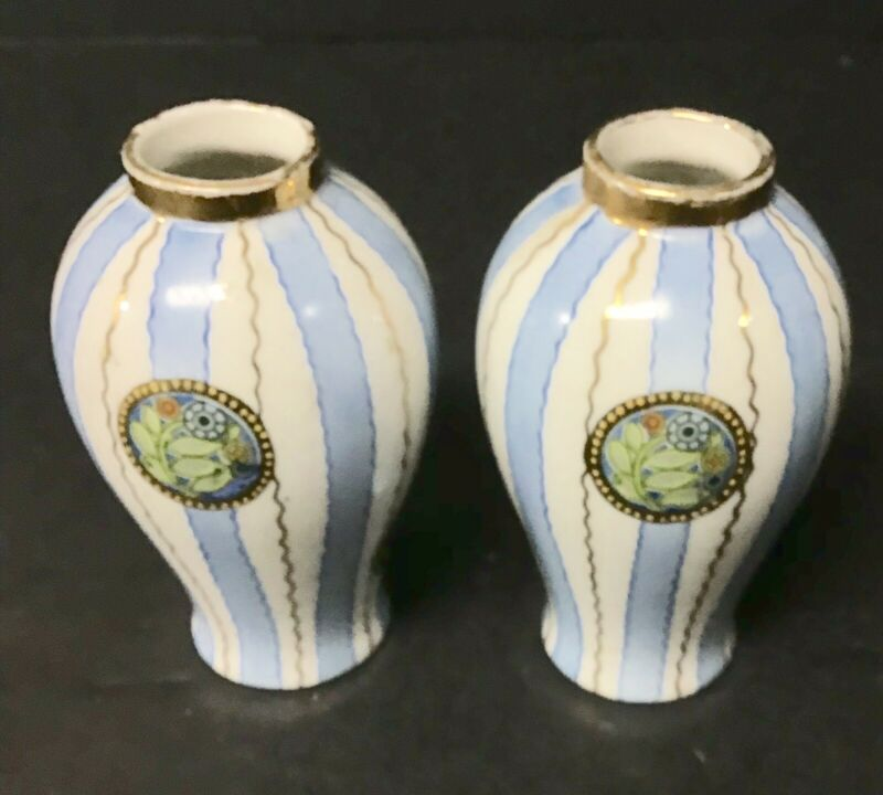 Pair Of Blue And White Striped Porcelain Vases