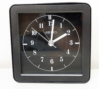 SEIKO - EBONY BEDSIDE ALARM- QUIET SWEEP WITH SNOOZE & FLASHING LIGHT QHE082JLH
