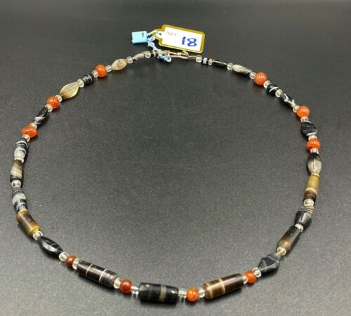 old banded agate beads necklace from south east Asian countries circa 12thc