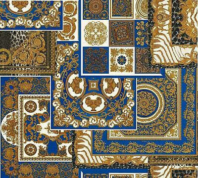 Versace Decoupage Blue Gold Wallpaper Baroque Ornament Metallic Paste Wall